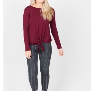 Burgundy Tie Front Top L/S by A&D NWT